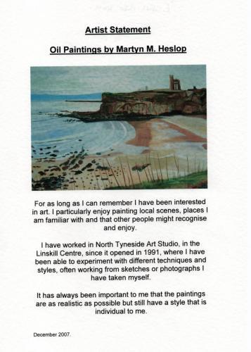 2007 artist statement Martyn M Heslop