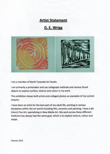 2010 artist statement D E Wrigg
